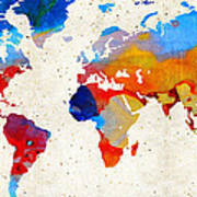 World Map 18 - Colorful Art By Sharon Cummings Art Print