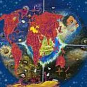 World Map And Barack Obama Stars Art Print by Augusta Stylianou