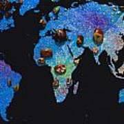 World Map And Sagittarius Constellation Art Print
