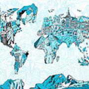 World Map Blue Collage Art Print