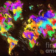 World Map Color Art Print