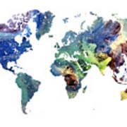 World Map Cosmos Art Print