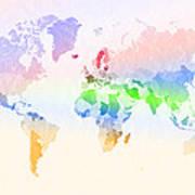World Map Crumpled Multi-coloured Art Print