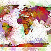 World Map Digital Watercolor Painting Art Print
