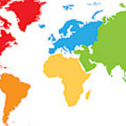World Map Divided Into Six Continents. Each Continent In Different on world map with all continents, world map unlabeled, earth divided into continents, atlas divided into continents, world map of continents identified, names of continents, world map outline continents, simple map of continents,