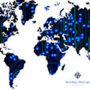 World Map In Blue Lights Art Print