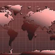 World Map In Dark Red Art Print