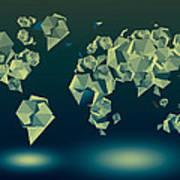 World Map In Geometric Green Art Print