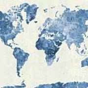 World Map In Watercolor Blue Art Print