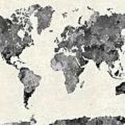 World Map In Watercolor Gray Art Print
