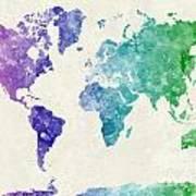 World Map In Watercolor Multicolored Art Print