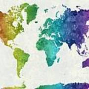 World Map In Watercolor Rainbow Art Print