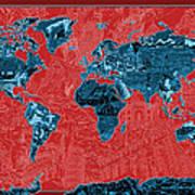 World Map Landmark Collage 11 Art Print