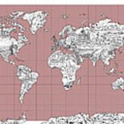 World Map Landmark Collage 2 Art Print