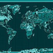 World Map Landmark Collage 4 Art Print