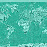World Map Landmark Collage Green Art Print