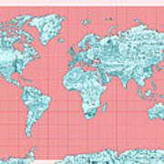 World Map Landmark Collage Art Print