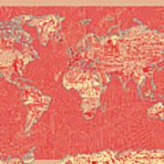 World Map Landmark Collage Red Art Print