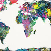 World Map Art Print by Mike Maher