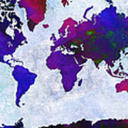 World Map - Purple Flip The Light Of Day - Abstract - Digital Painting 2 Art Print by Andee Design