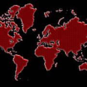 World Map Red Grid Art Print