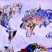 World Map Watercolor 2 Art Print