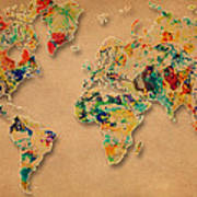 World Map Watercolor Painting 2 Art Print