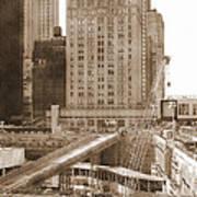 World Trade Center Reconstruction Vintage Art Print
