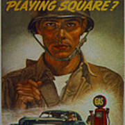 World War II Military Poster Are You Playing Square Art Print