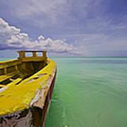 Worn Yellow Fishing Boat Of Aruba II Art Print