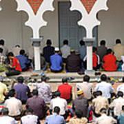 Worshipers At Friday Prayers - Masjid Jame - Friday Mosque - Kuala Lumpur - Malaysia Art Print