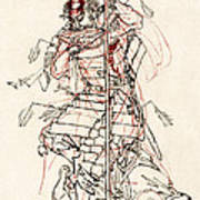 Wounded Samurai Drinking Sake C. 1870 Art Print