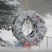 Wreath In A Snow Storm Art Print