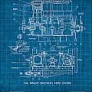 Wright Brothers Aero Engine Vintage Patent Blueprint Art Print