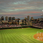 Wrigley Field At Dusk Art Print by John Gaffen