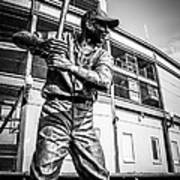 Wrigley Field Ernie Banks Statue In Black And White Art Print by Paul Velgos
