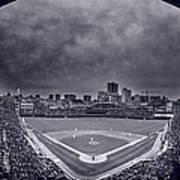 Wrigley Field Night Game Chicago Bw Art Print