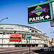 Wrigleyville Sign And Wrigley Field In Chicago Art Print