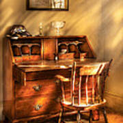 Writer - A Chair And A Desk Art Print by Mike Savad