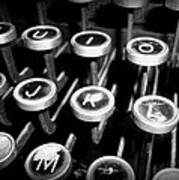 Writing The Great Novel - Black And White Art Print
