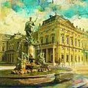 Wurzburg Residence With The Court Gardens And Residence Square Art Print by Catf