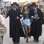 Wyatt Earp  Doc Holliday Escort  Woman  With O.k. Corral In  Background 2004 Art Print