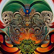Xiuhcoatl The Fire Serpent Print by Ricardo Chavez-Mendez