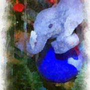 Xmas Elephant Ornament Photo Art 02 Art Print