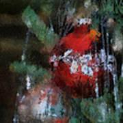 Xmas Red Ornament Photo Art 03 Art Print