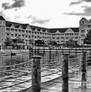 Yacht And Beach Club After The Rain In Black And White Walt Disney World Art Print