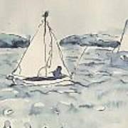 Yacht At Arcachon Art Print