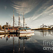 Yacht At The Pier On A Sunny Day Art Print