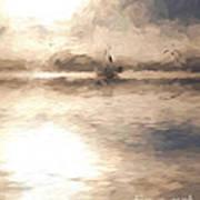 Yacht in mist at Bay of Plenty Art Print