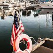 Yacht With American Flag At The Pier  Art Print